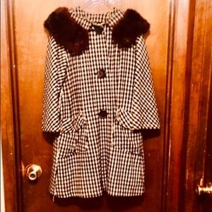 Vintage 1960s Gingham Wool Coat with Fur Collar